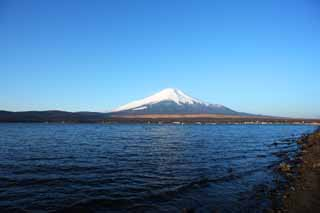 photo,material,free,landscape,picture,stock photo,Creative Commons,Mt. Fuji, Fujiyama, The snowy mountains, surface of a lake, blue sky