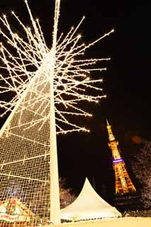 photo,material,free,landscape,picture,stock photo,Creative Commons,Sapporo television tower, An electric wave tower, Illuminations, light, I am beautiful