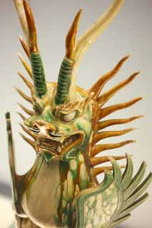 photo,material,free,landscape,picture,stock photo,Creative Commons,Tang tricolored earthenware coloring glaze Sue Shizu grave beast, gravekeeper, I am bright, dragon, The history