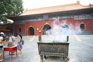 photo,material,free,landscape,picture,stock photo,Creative Commons,Yonghe Temple Yonghe gate, Rich coloring, An incense holder, Faith, Chaitya