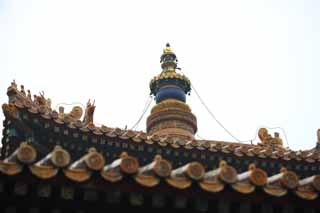 photo,material,free,landscape,picture,stock photo,Creative Commons,A Yonghe Temple tower, Tibet, chain, Money, Chaitya