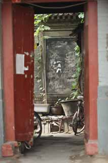 photo,material,free,landscape,picture,stock photo,Creative Commons,The doorway of the house of Beijing, bicycle, bucket, The gate, It is built of brick
