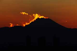 photo,material,free,landscape,picture,stock photo,Creative Commons,Mt. Fuji of the destruction by fire, Setting sun, Mt. Fuji, Red, cloud