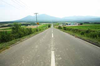photo,material,free,landscape,picture,stock photo,Creative Commons,A straight line road of Furano, field, Mt. Tokachi-dake, The country, rural scenery