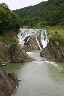 photo,material,free,landscape,picture,stock photo,Creative Commons,Yubari River, rock, virgin forest, Stratum, flow