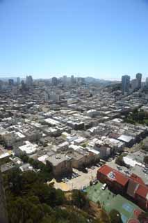 photo,material,free,landscape,picture,stock photo,Creative Commons,The sea of San Francisco, high-rise building, Downtown, residential area, slope