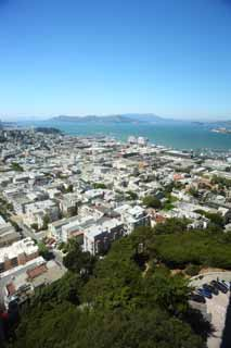 photo,material,free,landscape,picture,stock photo,Creative Commons,The sea of San Francisco, port, Golden Gate Bridge, ship, residential area