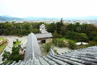 photo,material,free,landscape,picture,stock photo,Creative Commons,Aizu Wakamatsu, tile, building, town, The castle tower