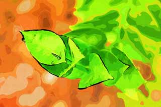 illustration,material,free,landscape,picture,painting,color pencil,crayon,drawing,A bud, leaf, fleshy plant, Evolution, I am strange