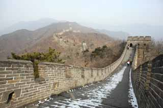 photo,material,free,landscape,picture,stock photo,Creative Commons,Great Wall of China whole view, castle wall, lookout in a castle, The Hsiung-Nu,