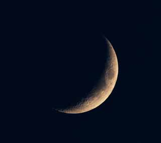 photo,material,free,landscape,picture,stock photo,Creative Commons,A crescent moon, crater, The surface of the moon, The moon, At dark