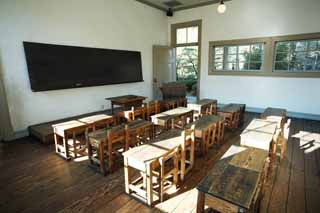 photo,material,free,landscape,picture,stock photo,Creative Commons,Meiji-mura Village Museum Mie ordinary normal school / rich person Elementary School , platform, desk, chair, classroom