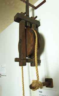photo,material,free,landscape,picture,stock photo,Creative Commons,Meiji-mura Village Museum pulley, pulley, It is made of wood, well, Cultural heritage