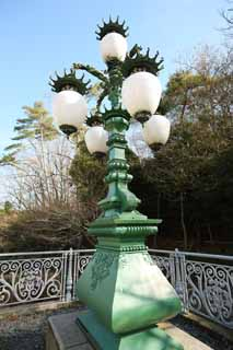 photo,material,free,landscape,picture,stock photo,Creative Commons,Meiji-mura Village Museum Niju-bashi Bridge decoration flashlight, light of the Meiji, The Westernization, Western-style building, Cultural heritage