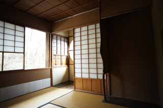 photo,material,free,landscape,picture,stock photo,Creative Commons,A person of Meiji-mura Village Museum east pine house, building of the Meiji, tatami mat, Japanese-style room, shoji