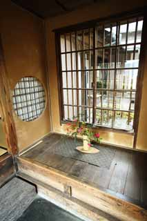 photo,material,free,landscape,picture,stock photo,Creative Commons,Meiji-mura Village Museum Rohan Kouda house [a snail hermitage], The entrance, round window, In the days of the deep red dew, Cultural heritage