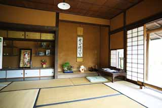 photo,material,free,landscape,picture,stock photo,Creative Commons,Meiji-mura Village Museum Rohan Kouda house [a snail hermitage], tokonoma, tatami mat, hanging scroll, Cultural heritage