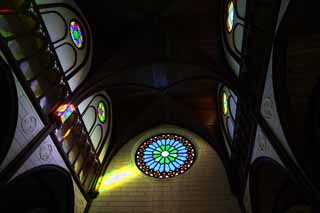 photo,material,free,landscape,picture,stock photo,Creative Commons,Meiji-mura Village Museum St. Xavier Lord of Heaven temple, Stained glass, The Westernization, Western-style building, Cultural heritage
