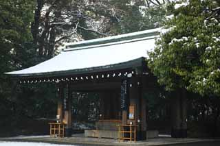 photo,material,free,landscape,picture,stock photo,Creative Commons,The Meiji Shrine facilities, The Emperor, Shinto shrine, torii, Snow