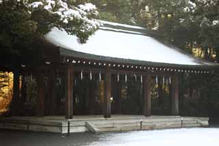 photo,material,free,landscape,picture,stock photo,Creative Commons,Meiji Shrine Mai, The Emperor, Shinto shrine, torii, Snow