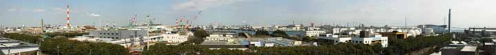 photo,material,free,landscape,picture,stock photo,Creative Commons,Industrial area whole view of Kawasaki, chimney, factory, shipyard, crane