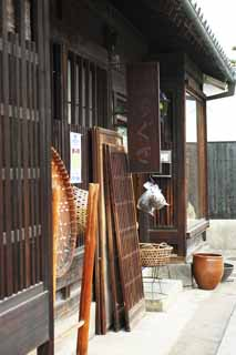 photo,material,free,landscape,picture,stock photo,Creative Commons,Kurashiki folk handicraft shop, colander, Tradition architecture, signboard, Chigusa