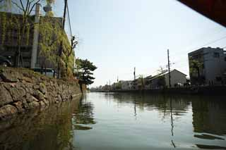 photo,material,free,landscape,picture,stock photo,Creative Commons,Matsue-jo Castle moat, Sightseeing ship, ship, moat, Ishigaki