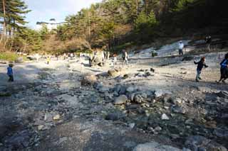 photo,material,free,landscape,picture,stock photo,Creative Commons,A riverbank of the Kusatsu hot spring west, rock, hot spring, Sulfur, Buddhist service for miscarried children