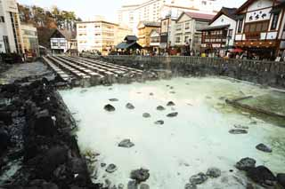 photo,material,free,landscape,picture,stock photo,Creative Commons,Kusatsu hot spring hot water field, rock, hot spring, Sulfur, Hot water