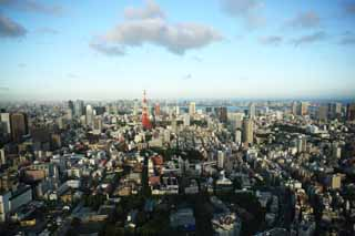 photo,material,free,landscape,picture,stock photo,Creative Commons,Tokyo whole view, Tokyo Tower, high-rise building, Tokyo Bay, The downtown area